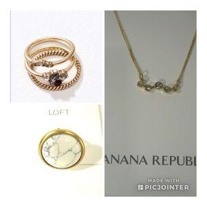Banana Republic Necklace Ann taylor Ring SET OF 3